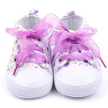 Baby Shoes Flower Ribbon Baby Girl Sneaker Lace Up Soft Sole Prewalkers HOT(China (Mainland))