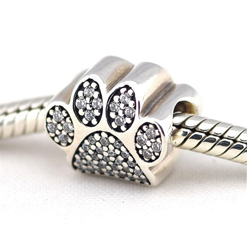 100% Authentic 925 Sterling Silver Footprint Metal Beads Fits Pandora Charms Bracelet Big Hole With Pave Paw DIY Beads Jewelry(China (Mainland))