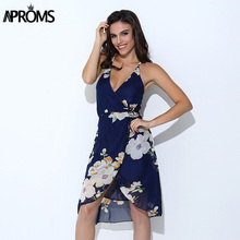 Buy Aproms Elegant Boho Summer Women Dress Sexy V Neck Backless Floral Print Party Dresses Casual Chiffon Beach Sundress Vestido for $8.53 in AliExpress store