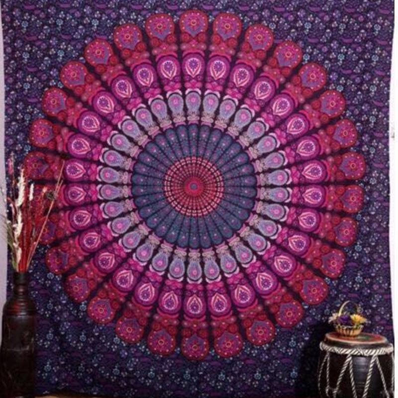 2016 Indian Mandala Tapestry Hippie Wall Hanging Tapestries Boho Bedspread Beach Towel Yoga Mat Blanket Table Cloth 210x148cm(China (Mainland))