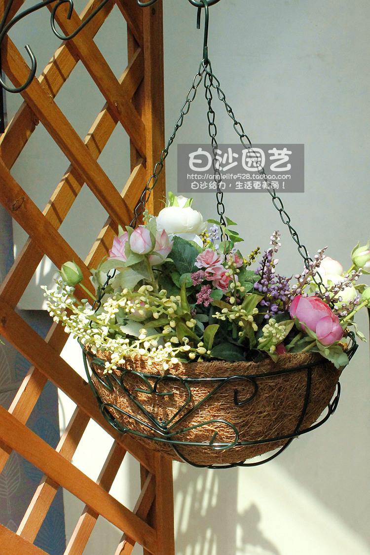 Free shipping,2pcs/lot,diameter-25cm,Iron basket baskets Diaopen coir pots dark green,Basket spider plants pots(China (Mainland))