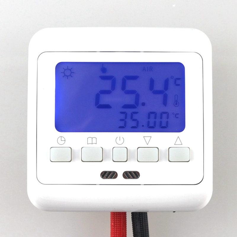 Digital Floor Heating Thermostat with LCD Keys Weekly Programmable Room Warm Temperature Controller Blue backlight(China (Mainland))