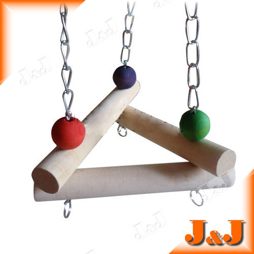 Unique Solid Wood Triangle Swing/Standing Pad/Playing Toy, Bird/Parrot/Hamster/Mini Pets, Color Beads, Metal Chain & Buckles - Double J's Trading CO., LTD. store