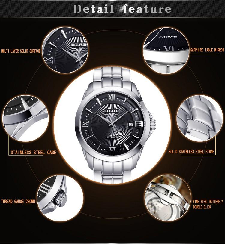 Relogio masculino ЧИТАТЬ Лучший бренд мужской автоматические механические часы Класса Люкс из нержавеющей стали водонепроницаемые часы 8005 Бесплатная доставка
