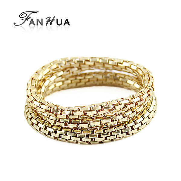 Designer Jewelry Gold Silver Bronze Color Three Pieces Sets Chain Concise Elastic Bracelets sets and Bangles for Women(China (Mainland))