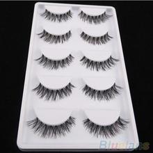 5 Paar viel schwarz cross falsche wimpern weichen langen make-up wimpern verlängerung(China (Mainland))