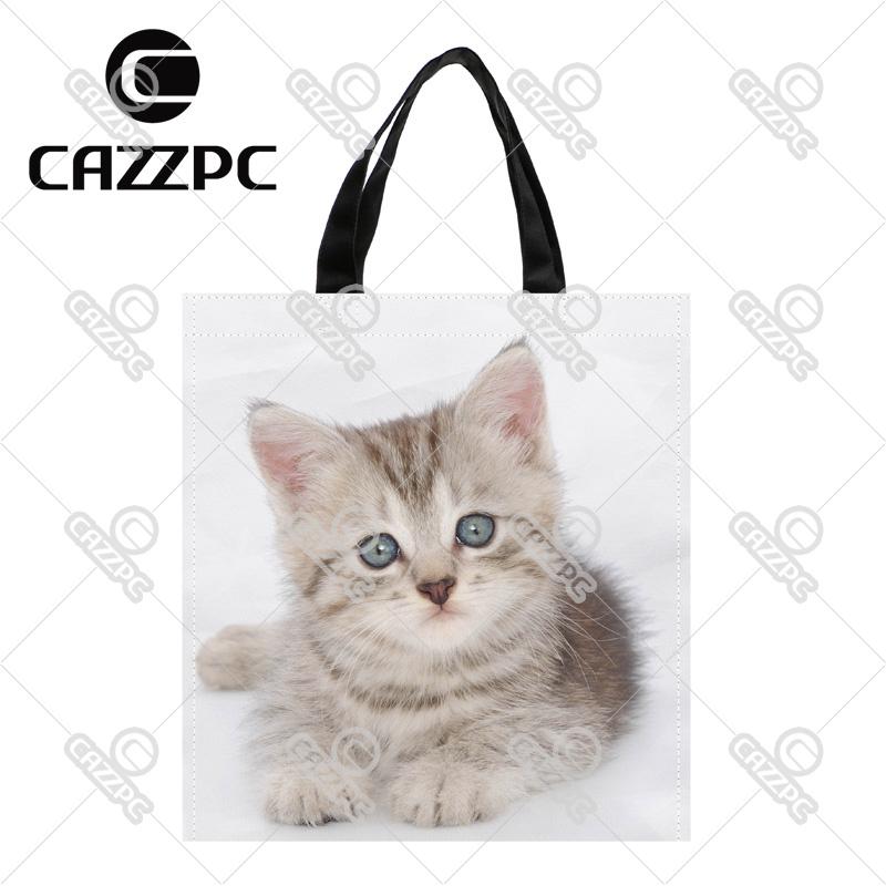 Small Cute Cat face Pattern Print Custom individual waterproof Nylon Fabric shopping bag gift bag Pack of 2(China (Mainland))