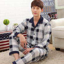 New pajamas For Men Autumn Cotton Long sleeve Sleepwear Trousers Mens Lounge Pajama Sets Plus Size 4XL(China (Mainland))