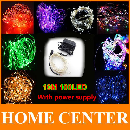 Waterproof 33FT 10M 100LEDs Led String Fairy Lights Lamp Silver Wire light With Power Adapter UK,US,EU,AU Plug For Decoration(China (Mainland))