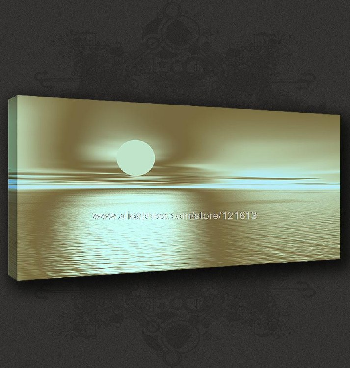 Abstract Blue Sepia Sunset Seascape Canvas Poster Modern Pop Art Oil Paintings Floral Canvas Wall Art Wall Hand Impressio(China (Mainland))