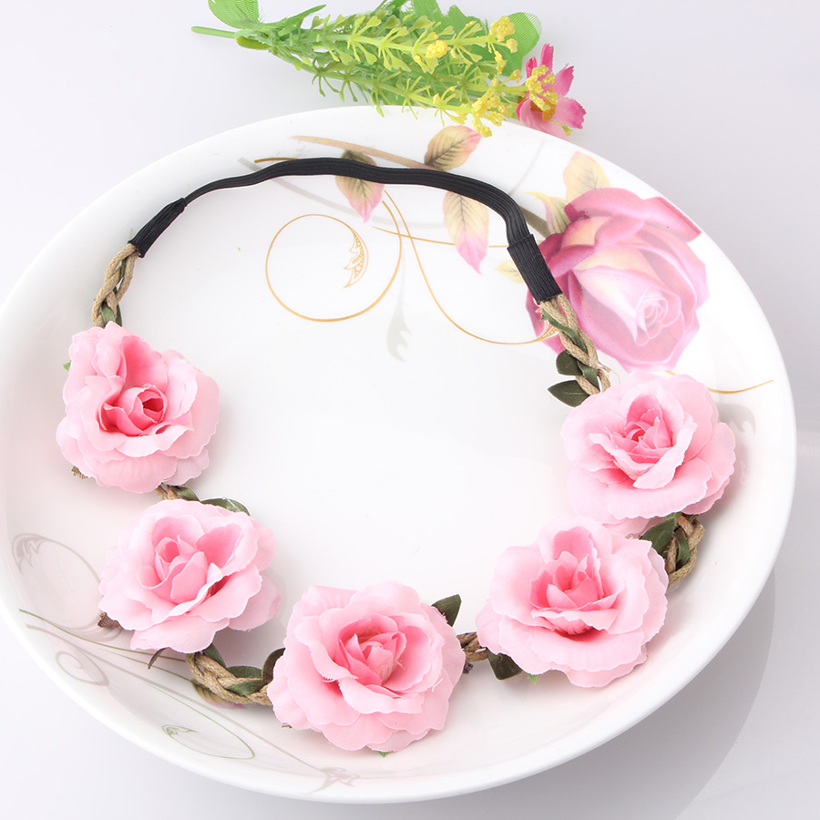 New High Quality Peony Women's Bohemian Floral Headbands Flower Party Wedding Hair Wreaths Hair Band Ornaments Beach Wrape(China (Mainland))