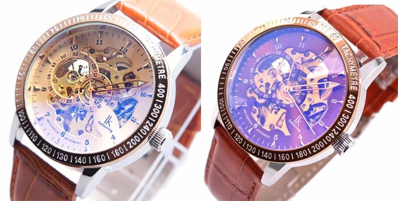 Роскошные Механические Водонепроницаемый Мужчины Смотреть Марка IK Скелет Автоматическая Кожаный Ремешок Мода Повседневная Наручные Часы Relojes Мужской E