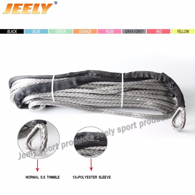 Free Shipping 9MM 40M 12 Strand UHMWPE Synthetic 4X4/ATV Winch Rope With Thimble