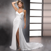 Sexy High Slit Chiffon Wedding Dresses Halter Neck Vestidos de Novia Delicate Beaded Bridal Gowns(China (Mainland))