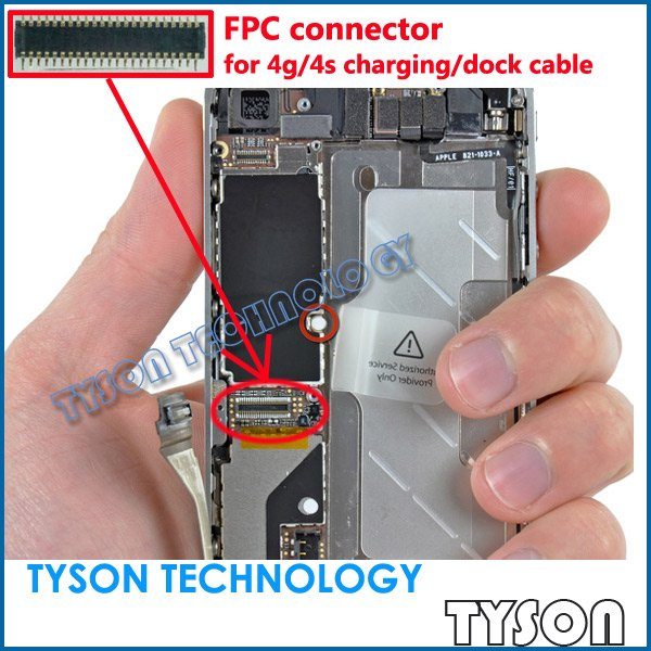 FPC connector for iphone 4 4g 4s charger dock flex cable on motherboard logic board Free Shipping