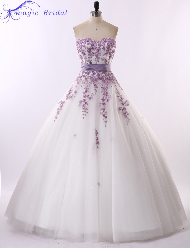 Vestido De Noiva Renda 2015 Vintage Strapless Purple Lace And White Wedding Dresses Country