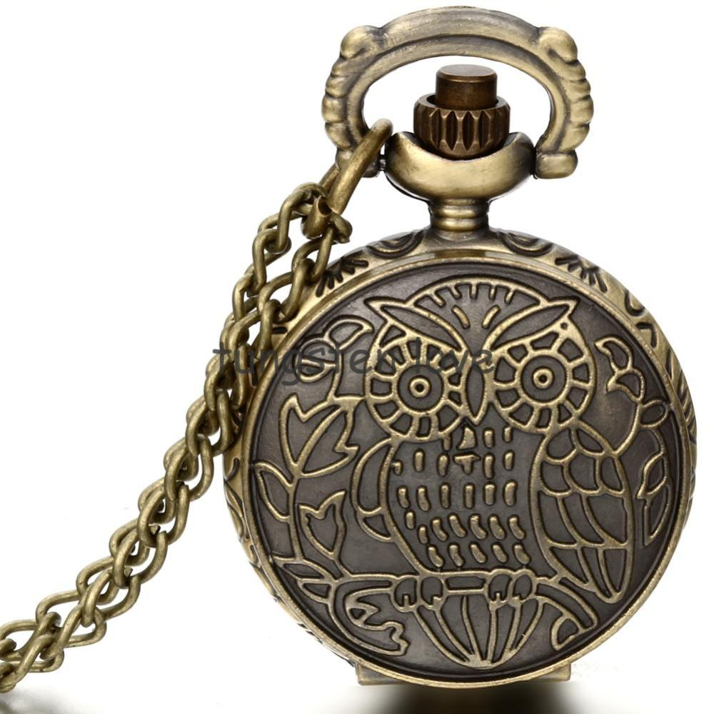 NEW Vintage Owl Flower Pendant Bronze Tone Cable 80CM Chain Quartz Pocket Watch Pendant Necklace For Women mens Gifts(China (Mainland))