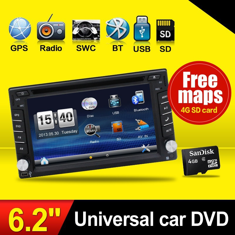 """Latest GPS Navigation+Free Map 6.2"""" Double 2 Din Car DVD Player In Dash Stereo Radio BT Digital T Bluetooth iPod Video MP3 SD(China (Mainland))"""