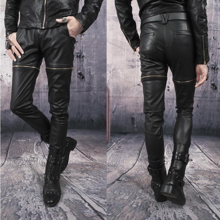 Autumn black zipper Motorcycle pants men street leather pant slim mens 1 trousers pantalones hombre feet - Fashion clothes store wang