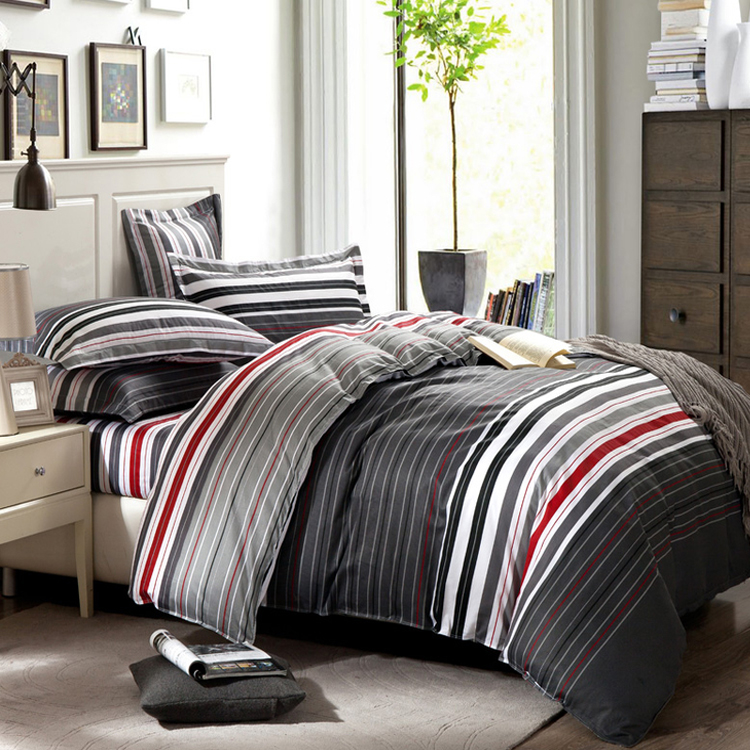 grey and red stripes printing 4pc bedding set queen bed