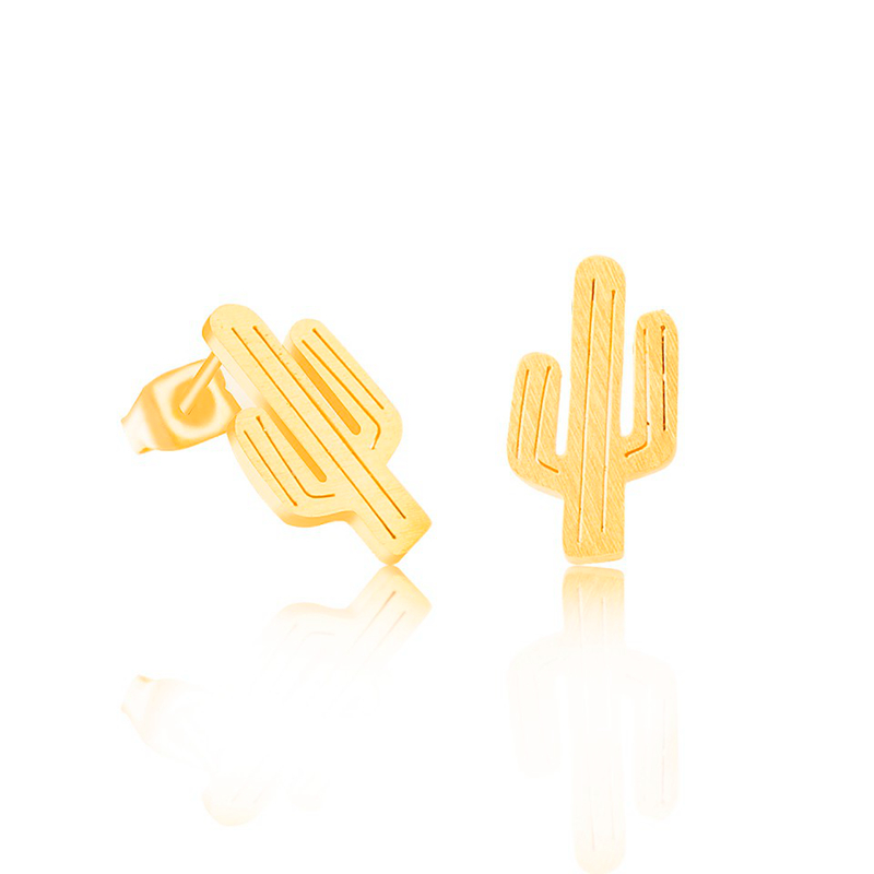 30pairs/lot 2016 Fashion Paragraph Cute Jewelry Stainless Steel Saguaro Cactus Stud Earrings In Gold Silver For Men Women(China (Mainland))