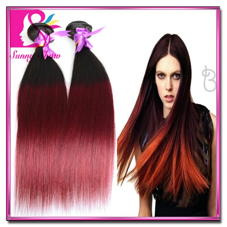 Mongolian Ombre Hair Extensions Straight Hair Bundles Two Tone Human Hair Weave 4pcs 10-30Color 1b/Burgundy 1b/27 1b/30 Cexxy<br><br>Aliexpress