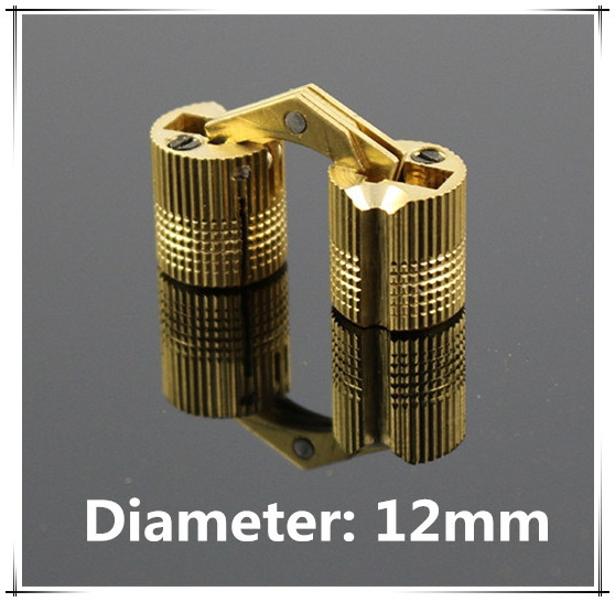 12mm Brass cylindrical hinge hidden furniture hinge invisible installation hinge(China (Mainland))
