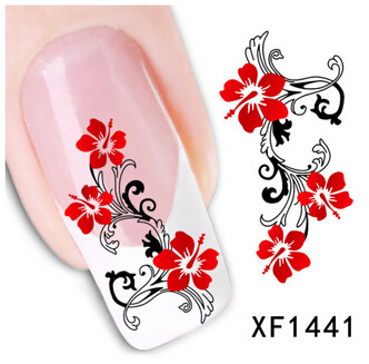Red Pretty Morning glory Finger Beauty Art French Style Beauty DIY Tip Nail Art Nail Sticker Gel Nails Beauty Decal XF1441(China (Mainland))