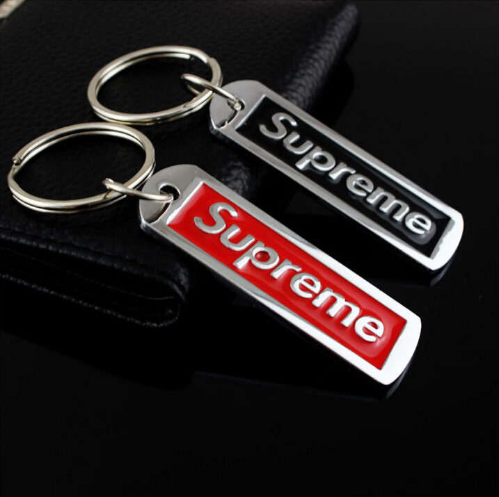 Red and Black Supreme Silver Metal Tag Keychain Polished Box Logo LIMITED SOLDOUT RARE Plated Key Ring Charm(China (Mainland))
