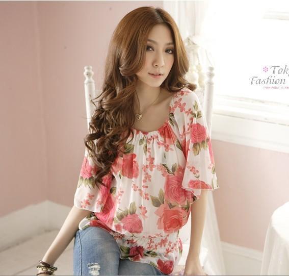free shipping famous fashion lace shirt women chiffon o neck  flower print lady  blouse