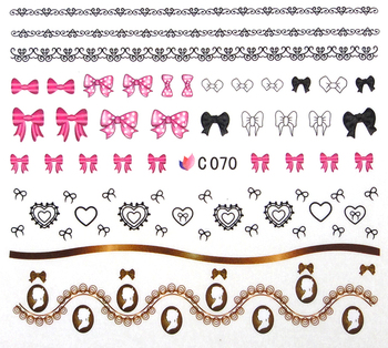 Finger applique nail art sticker watermark water transfer printing applique white decal c series