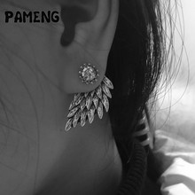 Buy Pameng New Fashion Black Gold Silver Color Gothic Women Cool Jewelry Angel Wings Rhinestone Alloy Stud Earrings Gifts for $1.47 in AliExpress store