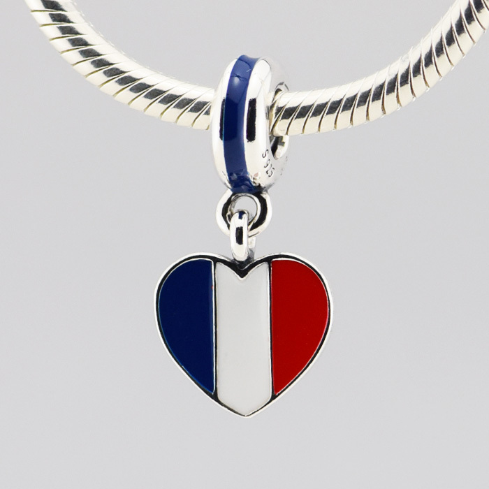 France flag charm Fits Pandora Bracelets Original 925 Sterling Silver Jewelry with blue/white/red enamel Diy Bead Wholesale 235(China (Mainland))