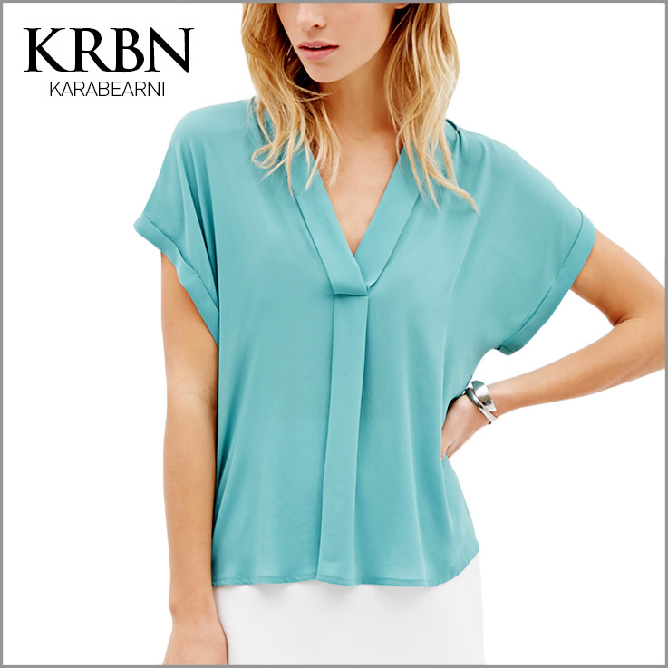 women tops summer women clothes 2015 women blouses Casual plus size women shirts ladies short Sleeve v-neck blue shirt 15165-23(China (Mainland))
