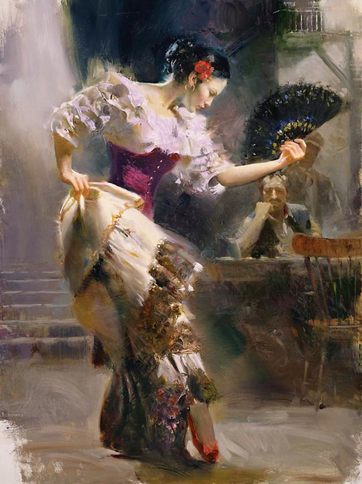 Beautiful painting Woman,Flamenco Dancers by Pino Daeni Canvas Art Reoproduction,Home Decor,hand-painted,high quality(China (Mainland))