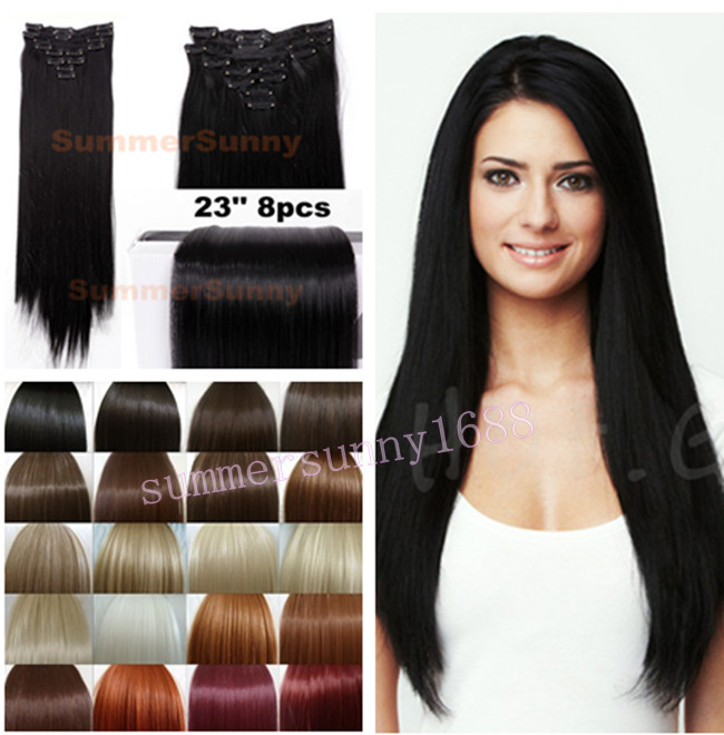"""8Pcs/set 24"""" 60CM Straight Full head Clip in on Hair Extensions Black Brown Blonde red auburn hair Extention Free Shipping(China (Mainland))"""