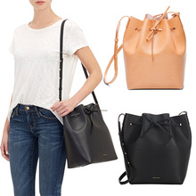 2016 New Leather Mansur Gavriel Bucket Bag Shoulder Handbags European and American Leather Drawstring Bag Size S L Fast Shipping