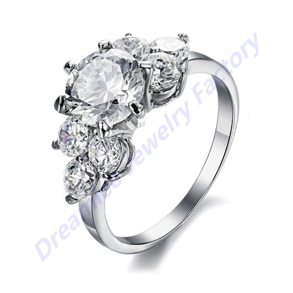 Wholesale Inlay Swiss Cubic Zirconia Crystal Finger Rings Jewelry Solid Sliver Stainless Steel Wedding Ring<br><br>Aliexpress