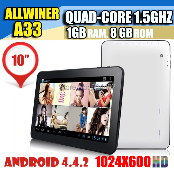 New Arrival Allwinner A33 Quad Core 1G 8G 6000MAH 10 inch Tablet PC Bluetooth1024x600 Wi-Fi Dual Camera Google Play Skype(China (Mainland))