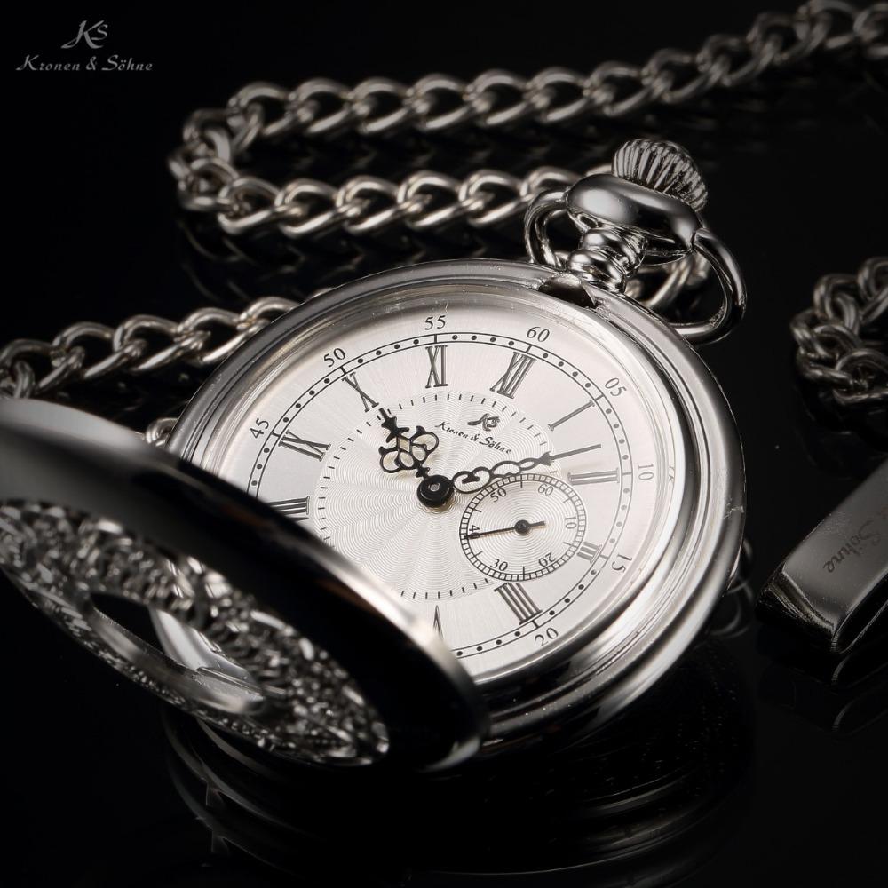 KS Retro Skeleton Silver Stainless Steel Case Steampunk Male Relogio Necklace Men Quartz Pocket Watch KSP051