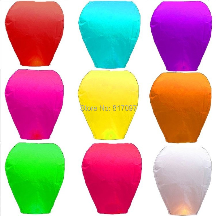 20X Chinese Sky Lanterns Party Flying Wedding Wishing Lamp Fire Assorted Color Chinese Paper Fly Sky Candle Wedding Lamp(China (Mainland))