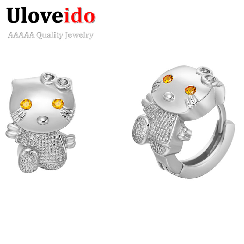 Fashion Animal Cat Earrings for Women Girls Child Cute Cheap Jewelry White/Rose Gold Plated Trendy 2015 Pendientes de Moda R564P<br><br>Aliexpress