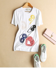 Cotton Embroidery T-shirt Women White Black Grey O-Neck Short Sleeve T-shirts For Women Colorful Painting T-shirts Summer 2016(China (Mainland))