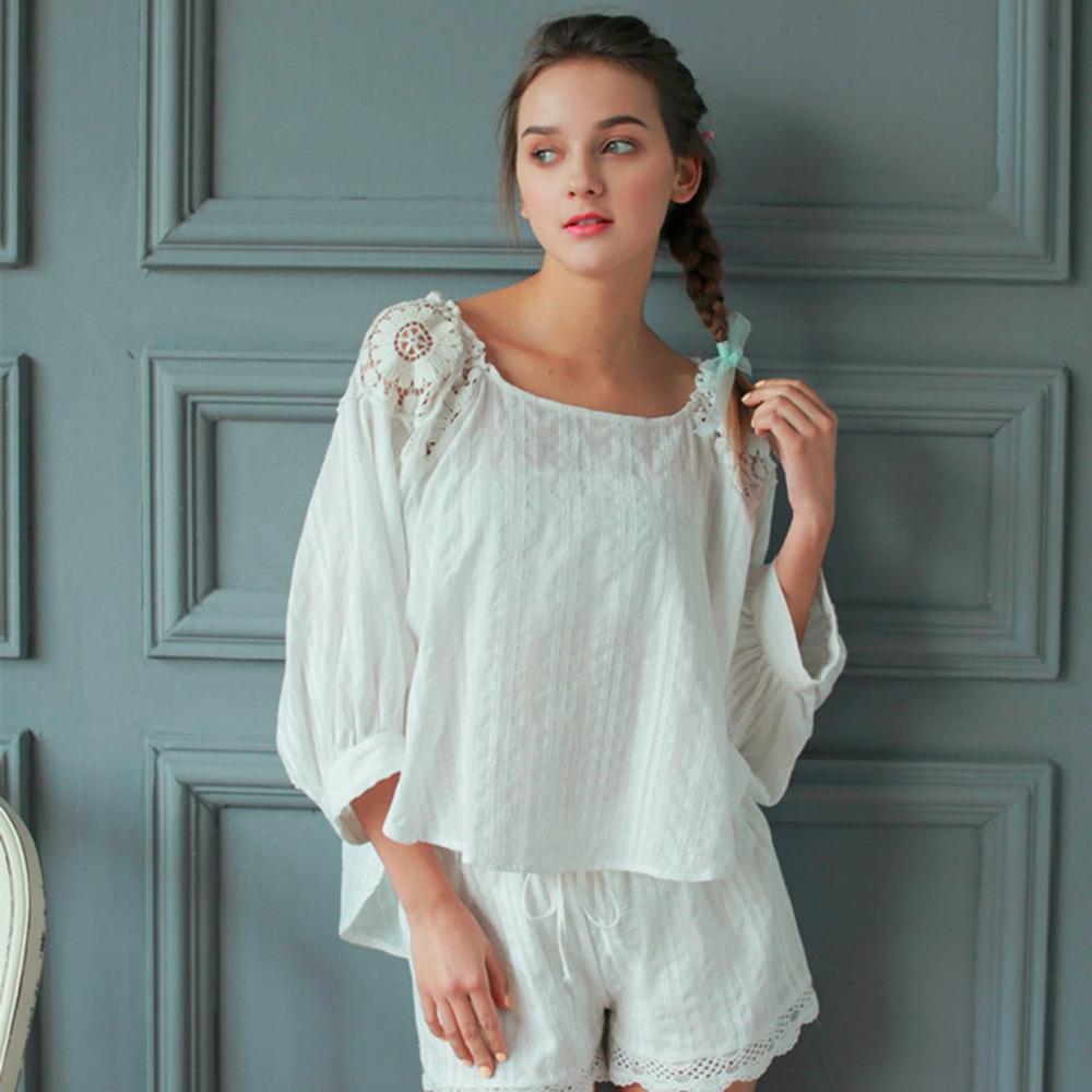 Women jacquard cotton square collar half sleeves pajamas set,lady girls princess white back embroidery lace nighty free HLM 1037(China (Mainland))