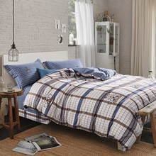 Plaid Crown Sanding Bedding Sets Queen King Size Thick Soft winter duvet cover+flat sheet+pillowcases 4pcs(China (Mainland))