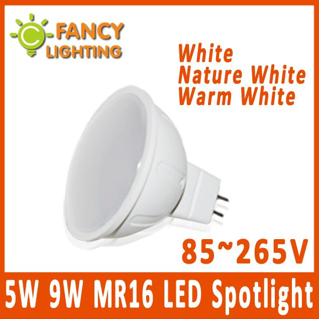 5 pieces/lot MR16 led bulb led spotlight Energy Saving 5W 9W 85~265V High Power Led light bulbs MR16 led Lamp Bombilla(China (Mainland))