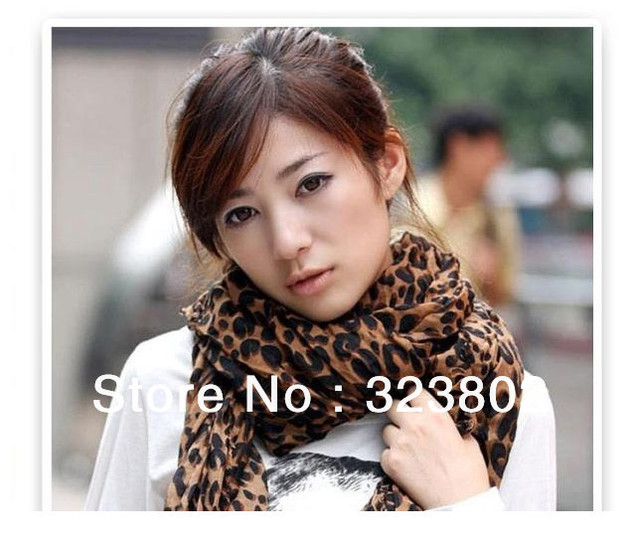 2012 HOT SALE Womens Fashion Larger Animal Print Shawl Leopard Scarf Voile Wrap Stole Pashimina Free Shipping