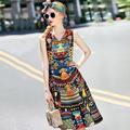 Top Grade New Designer Dress 2016 Autumn Style Ladies Vintage National African Print Mid Calf Length