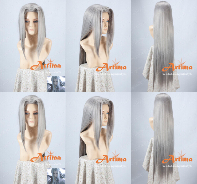 The Best Quality Final Fantasy FF7 Sephiroth Heat Resistant Party Cosplay Wig Synthetic Long Straight Hair Wigs