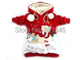 Free shipping,Wholesale!1pcs christmas kids wear, winter Double sided to wear children classic thickening coat/Sweatshirts